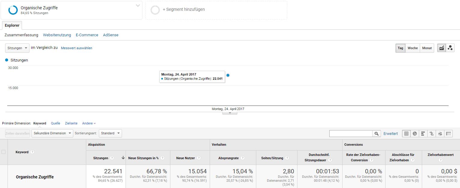 organische Besucher über die Suchmaschine google