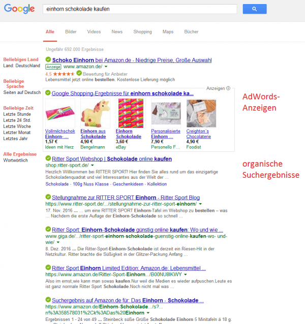 SEO und SEM in der Google-Suche